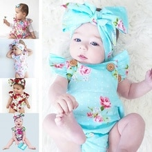 Summer Fashion Baby Girl Floral Bodysuit Romper Jumpsuit Headband 2Pcs Clothes Outfits Set Fit for 3