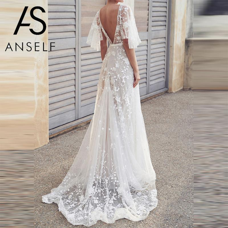 Women Lace Dress Elegant Long Gowns Romantic V-neck Maxi Backless Dress Evening Club Wedding White Party Dresses female vestidos