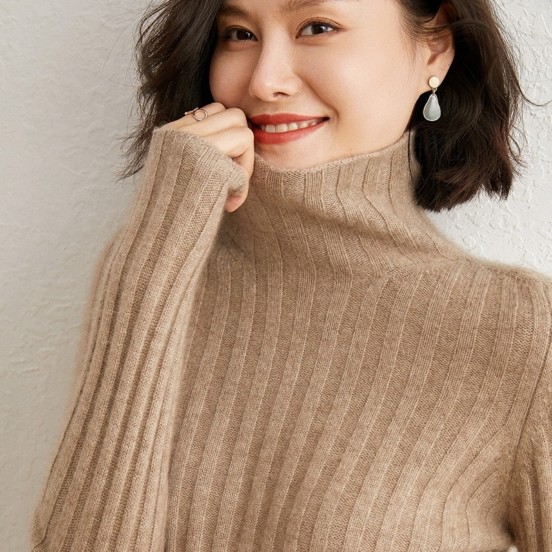 Cashmere knitted women's sweater, 100% high neck high elastic pullover, long sleeve, cashmere, winter, big sale enlarge