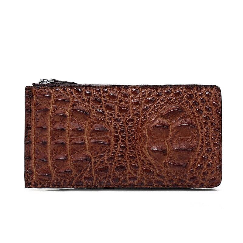 Real crocodile leather men business card holder zipper purse