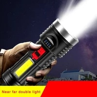 strong light flashlight outdoor multi function portable flashlight power display solar rechargeable flashlight