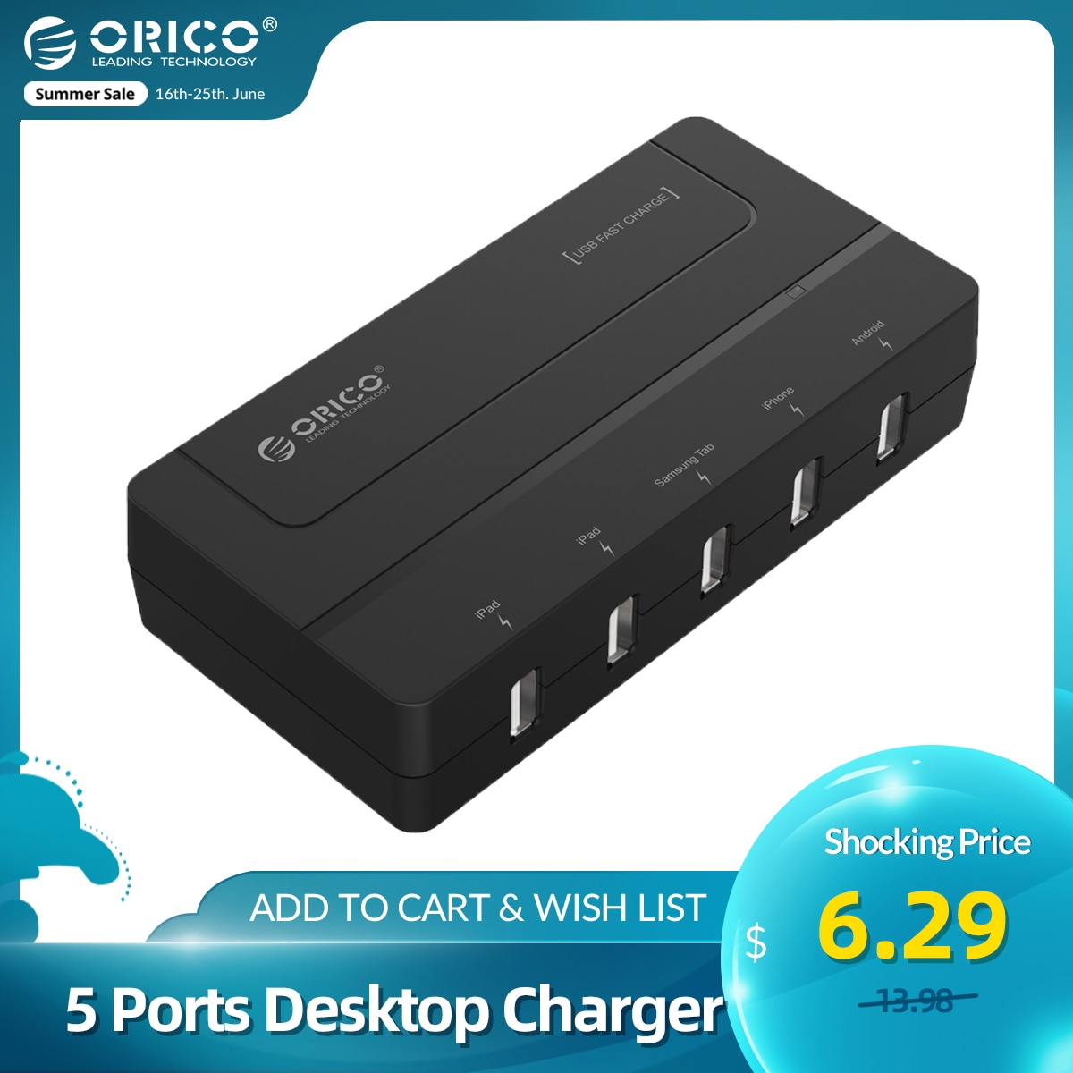 AliExpress - ORICO 5 Ports Desktop Charger USB Fast Charger 5V 6A Max 30W for Huawei Xiaomi iPhone iPad Android Samsung Tab Galaxy S6 Black