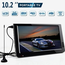 10.2 بوصة 12 فولت المحمولة الرقمية التناظرية التلفزيون dvb-t/DVB-T2 TFT LED HD التلفزيون دعم TF بطاقة USB في الهواء الطلق الصوت سيارة التلفزيون