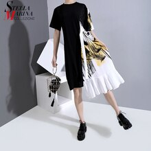 Nowy 2020 Hit kolorowy Design kobiety lato czarny, patchworkowy sukienka z szarfą jeden rozmiar drukowane Midi Lady sukienka na co dzień Femme 6221