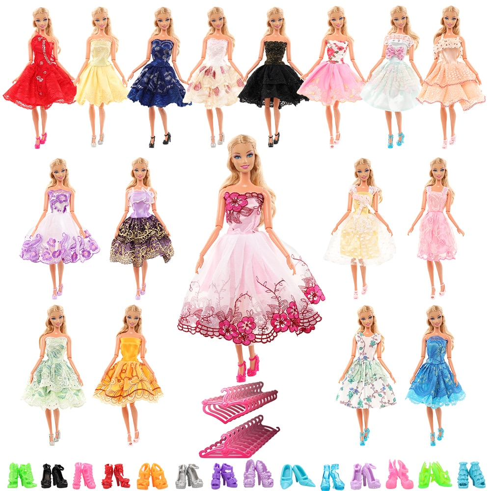 newest handmade fashion 14 items set doll accessories 1 toys suv 13 accessories lover travel auto cars for barbie ken car toy New Arrive Fashion Handmade 5 Items/set Doll Accessories Kids Toys = 5 Doll Dress Random Clothes For Barbie Game DIY Present