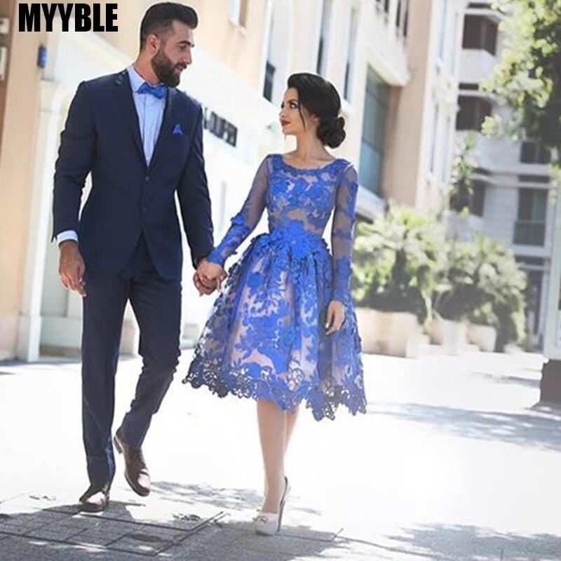 MYYBLE azul real 2020 barato elegante cóctel vestidos vestido manga larga apliques de encaje corto elegante vestidos de fiesta