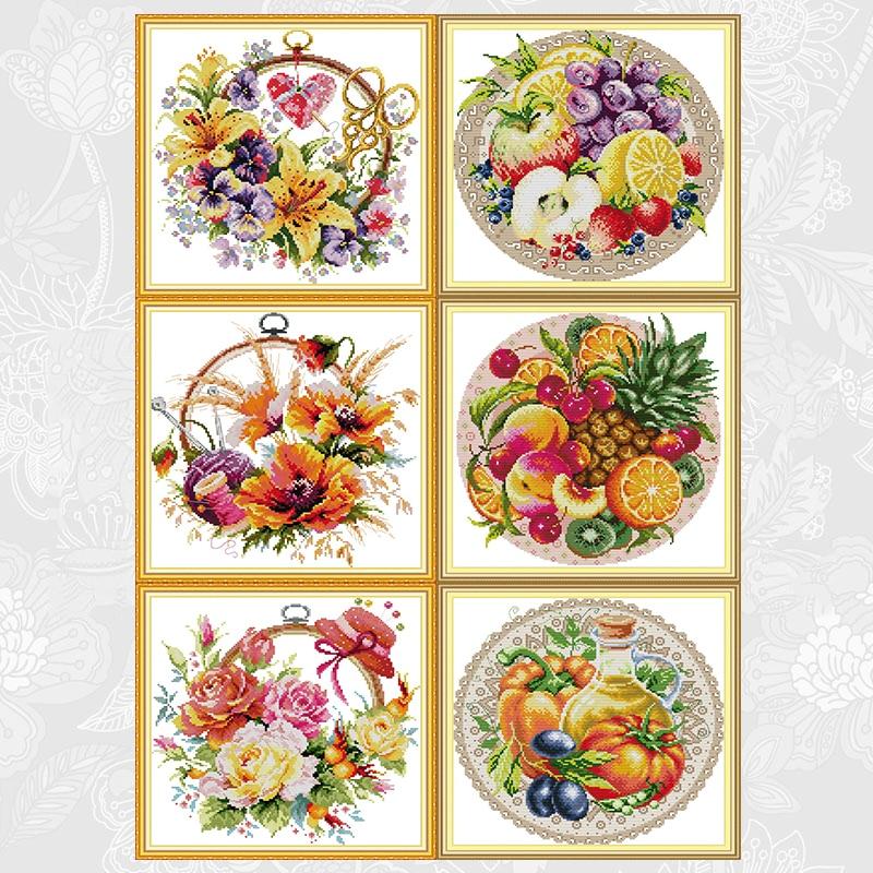 Kits de punto de cruz Joy Sunday, cesta de flores y disco de fruta DMC 14CT 11CT, tela de algodón, decoración del hogar, fábrica de cuadros al por mayor