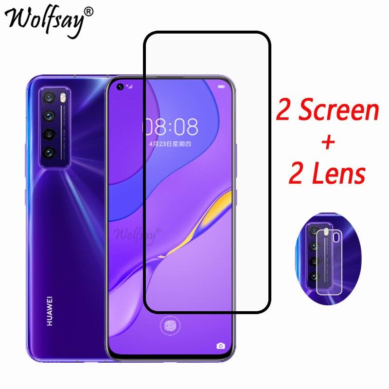 "Cubierta completa de vidrio templado para Huawei Nova 7 5G Protector de pantalla para Huawei Nova 7 cámara de vidrio para Huawei Nova 7 5G vidrio 6,53"""