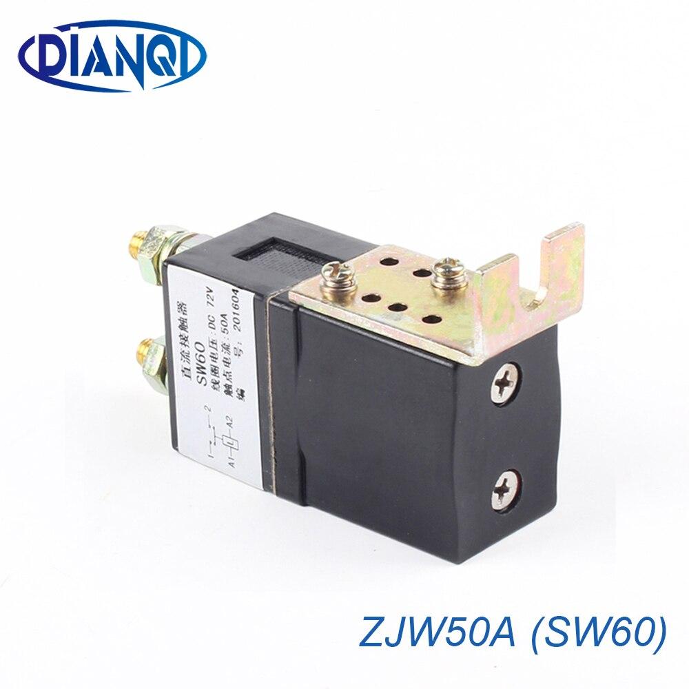 SW60 NO (normalmente abierto) 12V 24V 36V 48V 60V 50A CC Contactor ZJW50A para motor montacargas electromobile agarre del cabrestante del coche