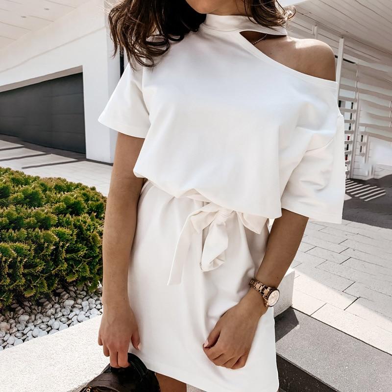 Women Off Shoulder Mini Dress Short Sleeve White Halter with Belt Ladies Dresses Summer Fashion Casual Female Streetwear