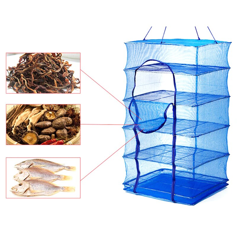 Foldable 4 Layers Drying Fishing Net Rack Hanging Vegetable Fish Dishes Dryer PE Hanger Fish Fishing Net Fishing Accessories
