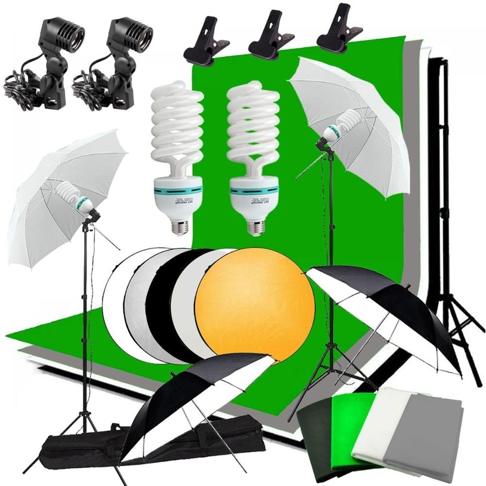 ZUOCHEN استوديو مظلة طقم خلفية لإضاءة الصورة + 4 خلفيات + 2 مظلات + 2*135 واط مصابيح كهربائية + عاكس + حامل خلفية