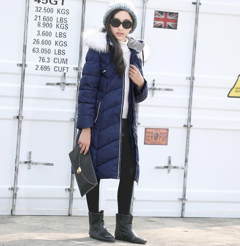 Winter Down Jacket for girls Europe Russia long design Raccoon fur collar white duck down coats -40℃ Blue warm hooded coat Q704