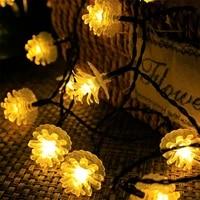 pheila solar string lights fairy garland waterproof pine cones lamp solar powered for outdoor courtyard garden fence diy decor
