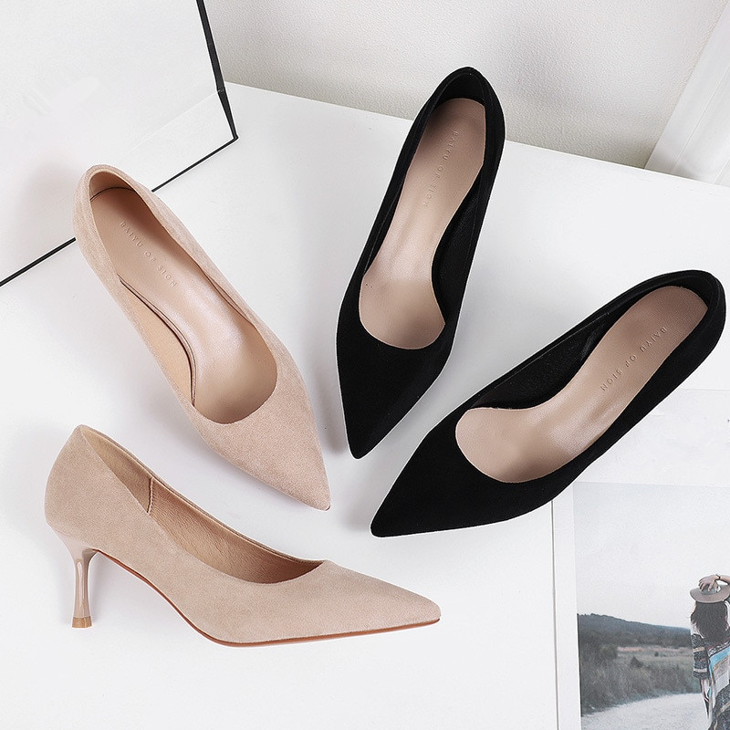 Spring Autumn Women Pointed Toe Pumps Shallow Fashionable Mature Shoes Flock Casual Pumps Thin Heels High Heel Shoes P0074 dijigirls recommend sheep skin summer women pumps patterns leather mixed color metal high heels pointed toe shallow shoes