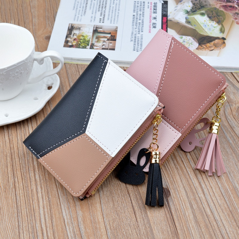 Geometric Women Cute Pink Wallets Pocket Purse Card Holder Patchwork Wallet Lady Female Fashion Shor