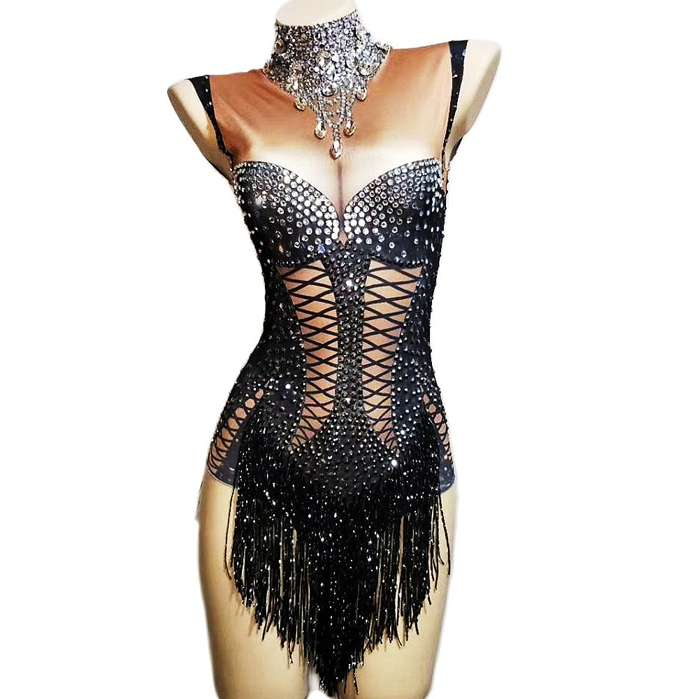 تألق الراين شرابة ارتداءها النساء مخطط الطباعة عارية الذراعين Bodycon السيدات ملهى ليلي أداء ملابس رقص