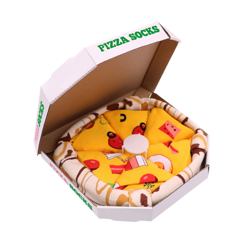 علبة جوارب بيتزا بيبيروني ، 4 أزواج من الجوارب القطنية المصنوعة في أوروبا ، هدية ممتعة للرجال