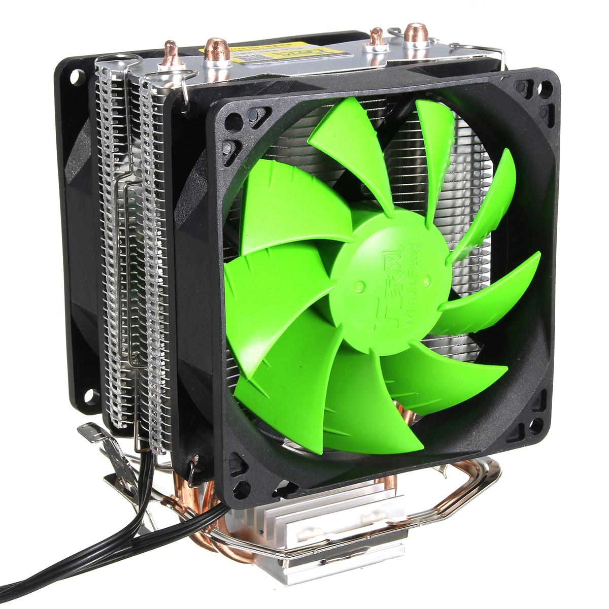Ventilador doble de 3 pines para CPU, disipador de calor, ventilador de refrigeración de CPU para Intel LGA775/1150/1155 AMD AM2/AM2 +/AM3 AM4 Ryzen Pasta térmica