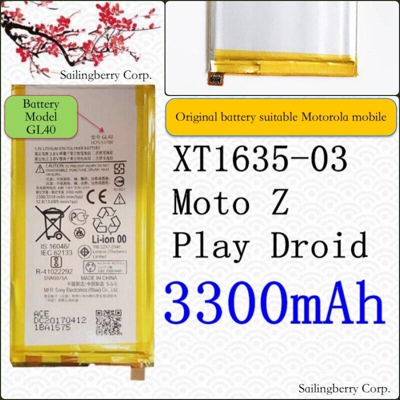 Batería Original adecuado para Motorola mobile MOTO Zplay XT1635-03 Moto Z jugar Droid con modelo de batería GL40
