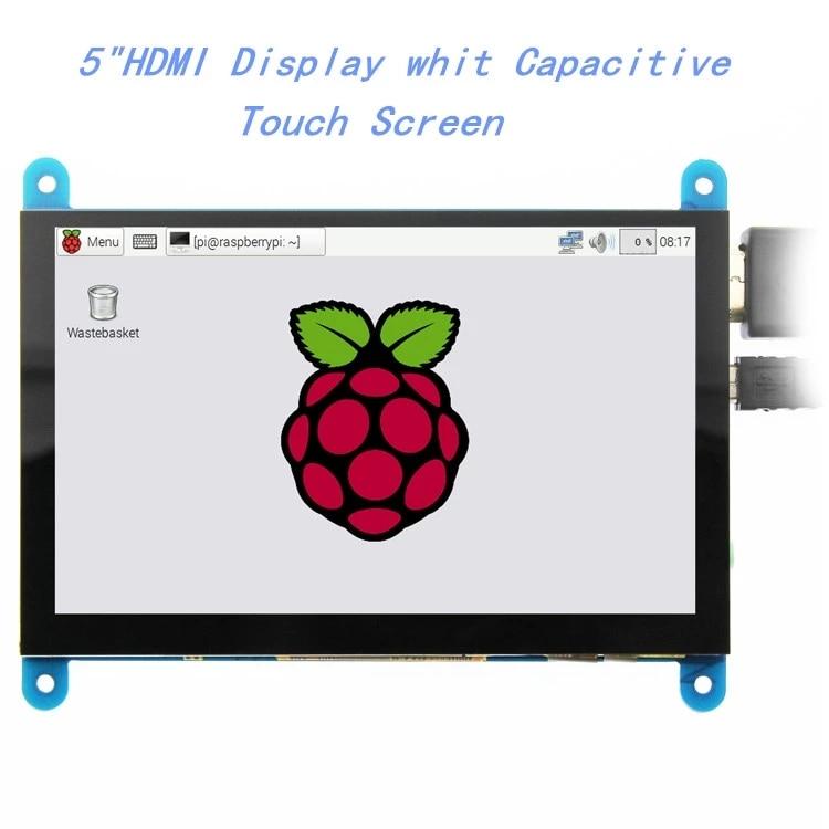 EQV 5 بوصة المحمولة رصد HDMI 800x480 بالسعة شاشة عرض LCD تعمل باللمس لتوت العليق Pi 4 3B +/ PC/الموز Pi