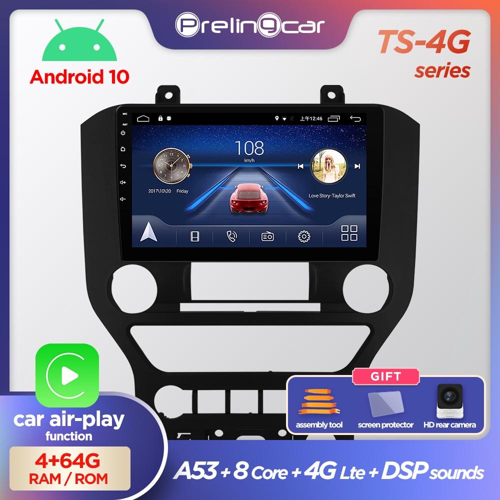 Prelingcar android 10.0 nenhum dvd 2 din rádio do carro reprodutor de vídeo multimídia navegação gps para ford mustang octa-core 2.5d dsp ips