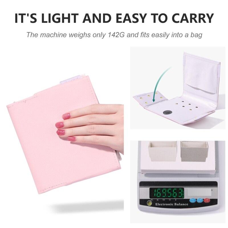 Portátil dobrável 54w máquina de secador de unhas 18 led lâmpada uv micro cabo usb uso doméstico ferramentas da arte do prego rosa branco preto