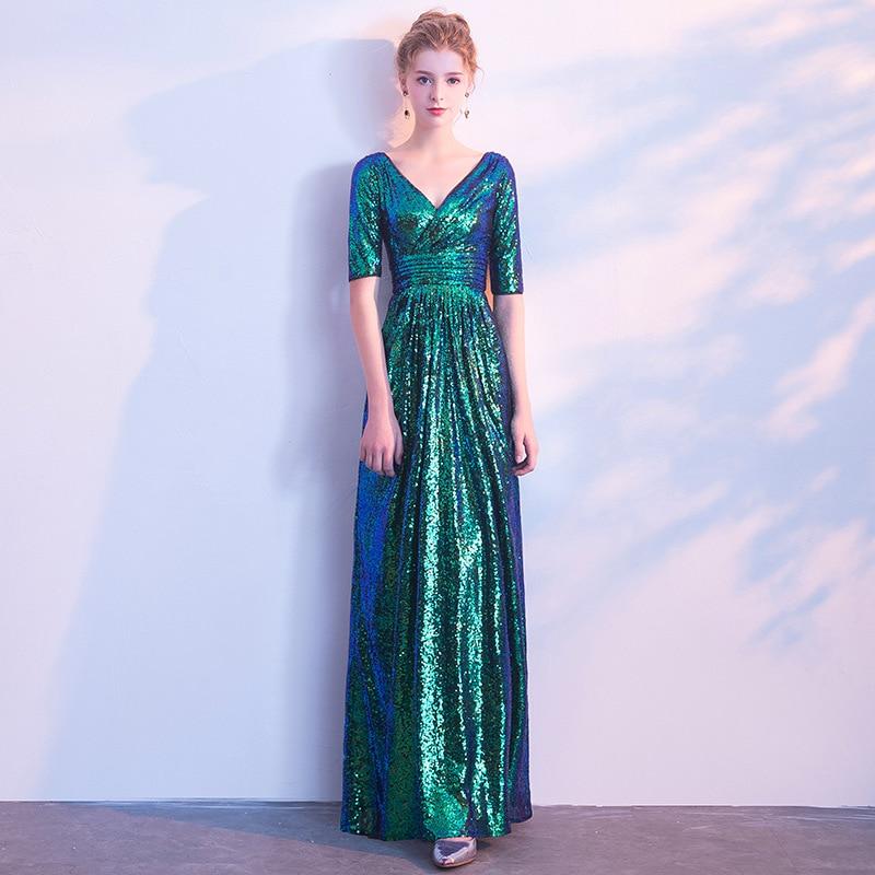 V-Neck Long Evening Dress Half Sleeve Sequins A Line V-Back Elegant Party Dress Formal Occasion Prom Gown Shining Robe De Soiree