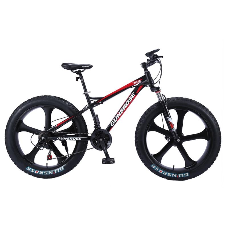 26 polegada mountain bike 4.0 pneu gordo mountain bike freio a disco duplo alta de aço carbono 7/21/24/24 velocidade da bicicleta