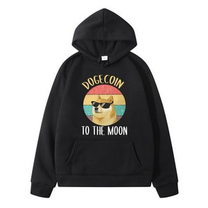 Men's Tops Bitcoin Cryptocurrency Art Dogecoin To The Moon Classic Hoody Vintage Mens Harajuku Crewneck Cotton Fashion Pullover