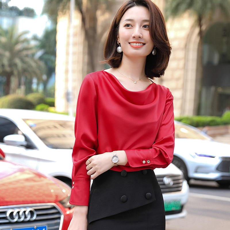 2020 mujeres primavera otoño camisa de manga larga + falda 2 piezas Conjunto elegante temperamento pulóver camisa traje mujer falda conjunto de color sólido