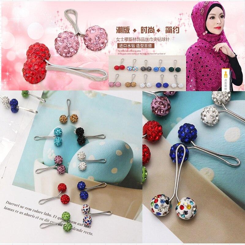 12 pçs moda simulado-pera cachecol fivela useful haute hijab muçulmano broches pinos cachecol na moda broche clipe acessórios islâmicos