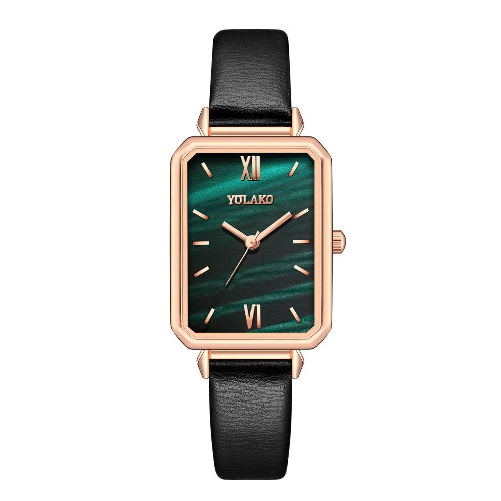 ¡Novedad de 2020! Relojes de moda para mujer, reloj cuadrado Vintage para mujer, reloj de pulsera de cuarzo con correa de cuero informal, reloj femenino