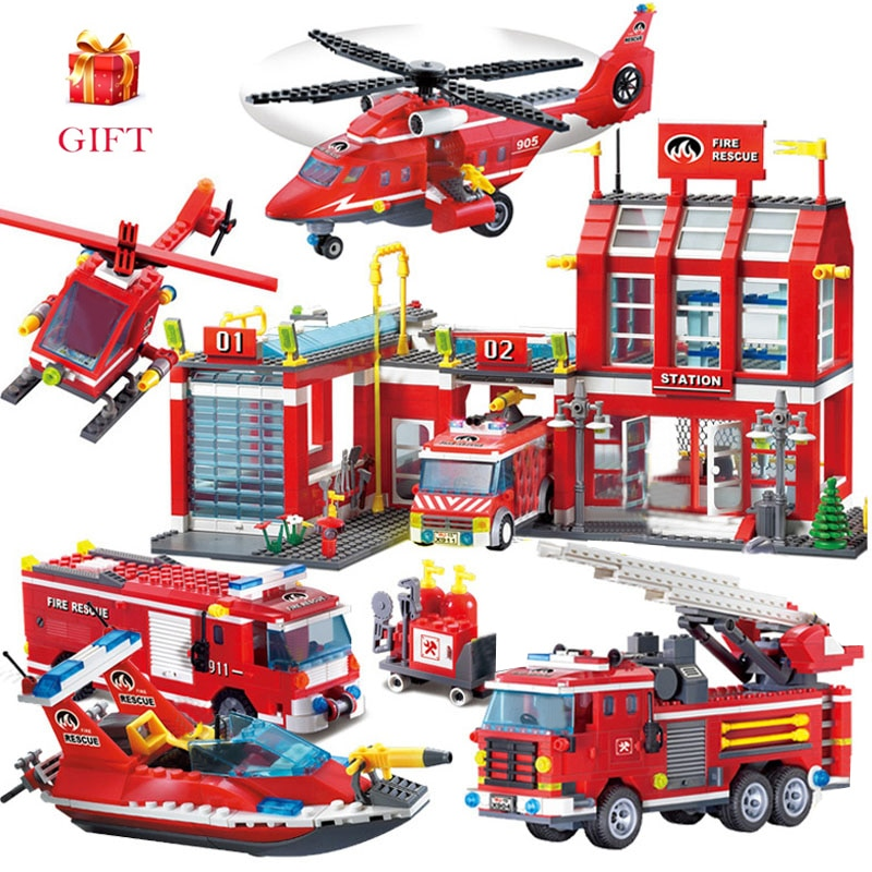 enlighten 970pcs fire rescue headquarters sation centre helicopter truck fireman assemble toy car building blocks toys City Fire station Building Blocks Truck Helicopter boat car firefighter Bricks Assembled DIY Educational Toys For Children