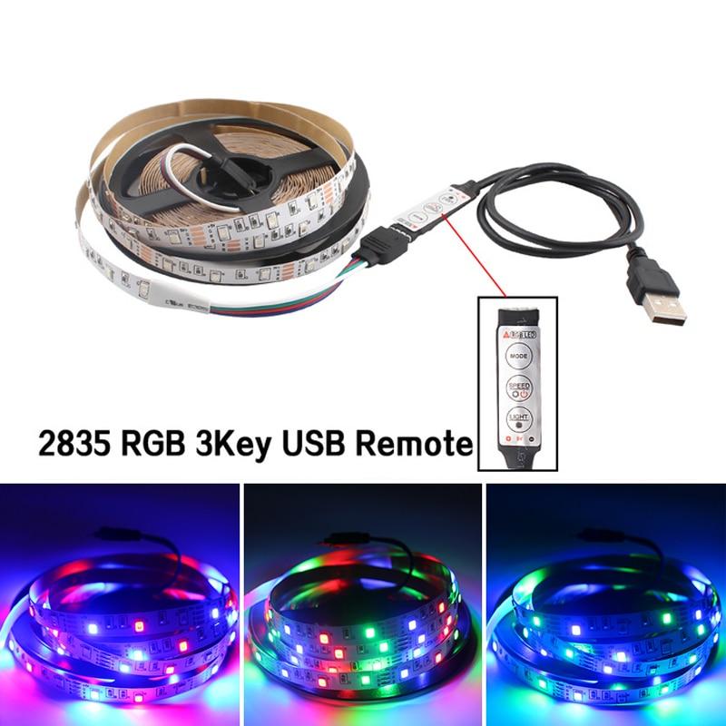 Tira de luz LED RGB de 5 V USB, no impermeable, tira de luz Led de 5 V, retroiluminación de TV 2835 50CM - 5 M con controlador LED RGB, mando a distancia de 3 teclas