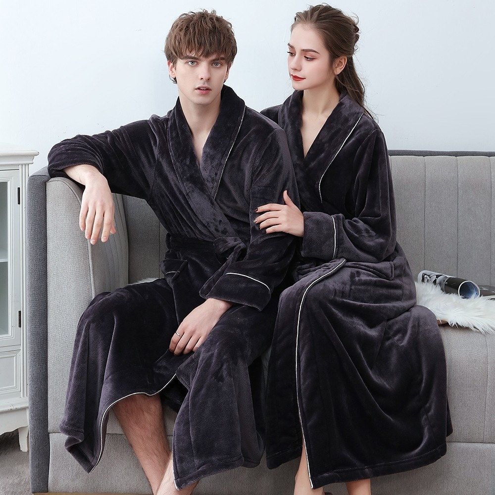 Plus Size 3XL Men Robe Winter Flannel Soft Kimono Gown Lovers Ultra Large Long Bathrobe Nightwear Thick Warm Women Sleepwear