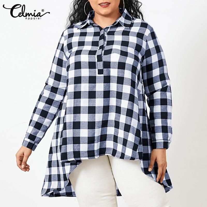 Women Vintage Plaid Lapel Long Blouses Celmia 2021 Fashion Asymmetrical Plus Size Shirts Casual Loose Long Sleeve Tunic Tops