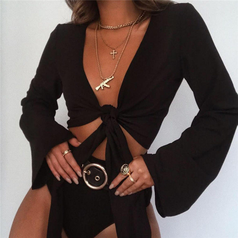Women's Sexy Lace-up Bandage Cardigan Solid Color Crop Top Tie Knot Top Loose Flared Sleeve T-shirt for Spring Summer Fall