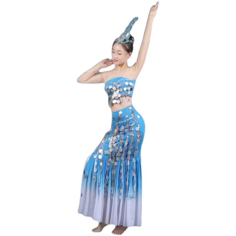 جديد داي ملابس رقص أداء فستان روح الماء الرقص الطاووس الرقص الإناث الكبار أداء فستان مطرزة ذيل السمكة تنورة