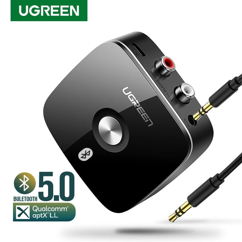 UGREEN بلوتوث RCA استقبال 5.0 aptX LL 3.5 مللي متر جاك Aux اللاسلكية محول الموسيقى ل سيارة التلفزيون RCA بلوتوث 5.0 جهاز إرسال سمعي