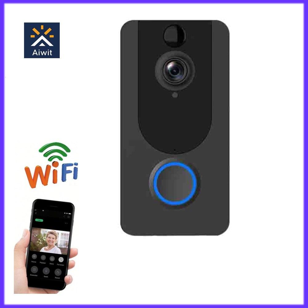 V7 1080P WiFi Video Doorbell Smart Wireless Night Viion PIR Motion Detection Intercom Remote Phone A