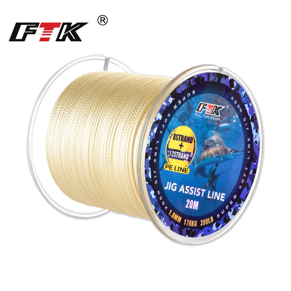 FTK Jig Assist Line 20 м 12 + 8 нитей 210LB/300LB/390LB леска супер мягкая леска многофиламентная леска