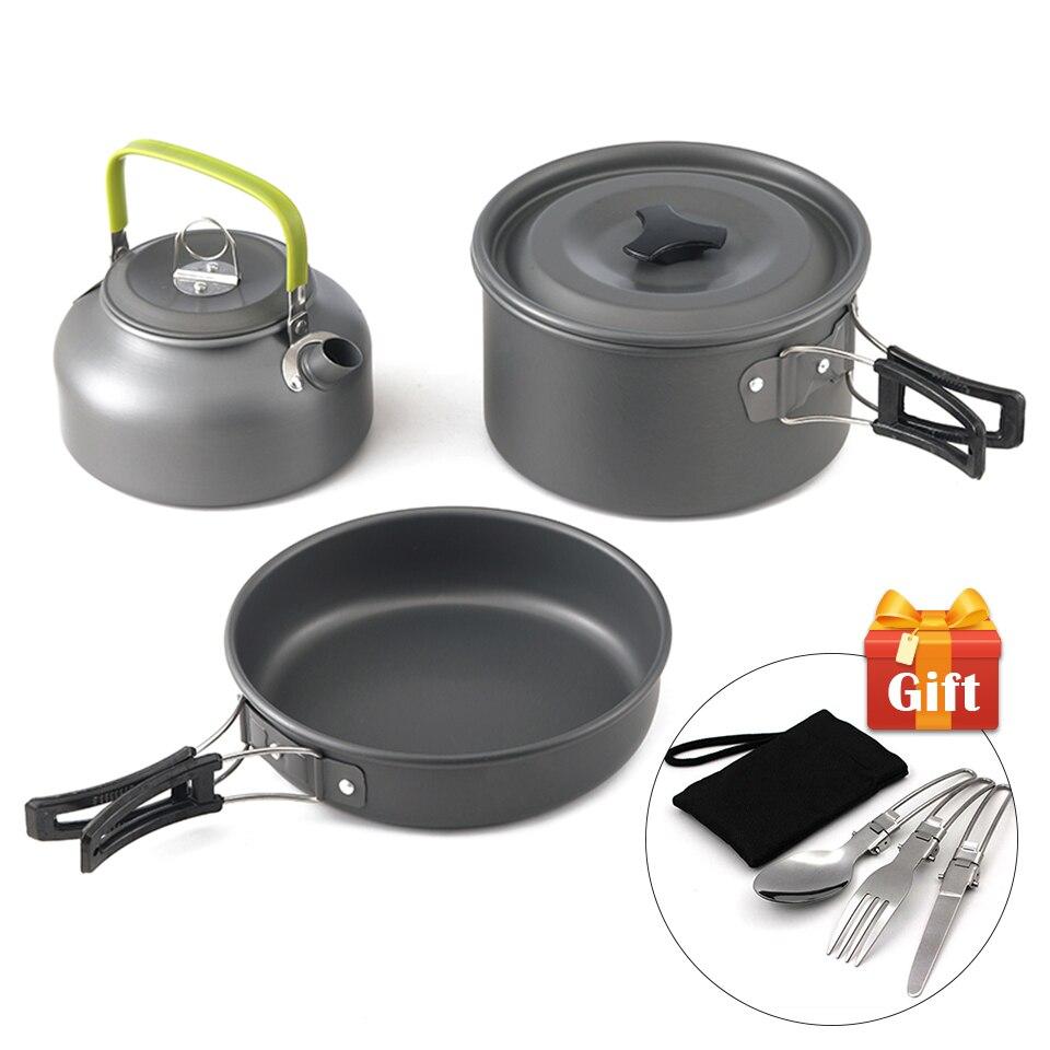Ульсветильник посуда для кемпинга из алюминиевого сплава, посуда, посуда для готовки на открытом воздухе, чайник для пикника, чайник, сковор...