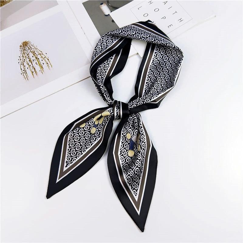 Fashion Butterfly Leaf Print Silk Scarf Bag For Women Head Skinny Long Handle Scarves & Wraps