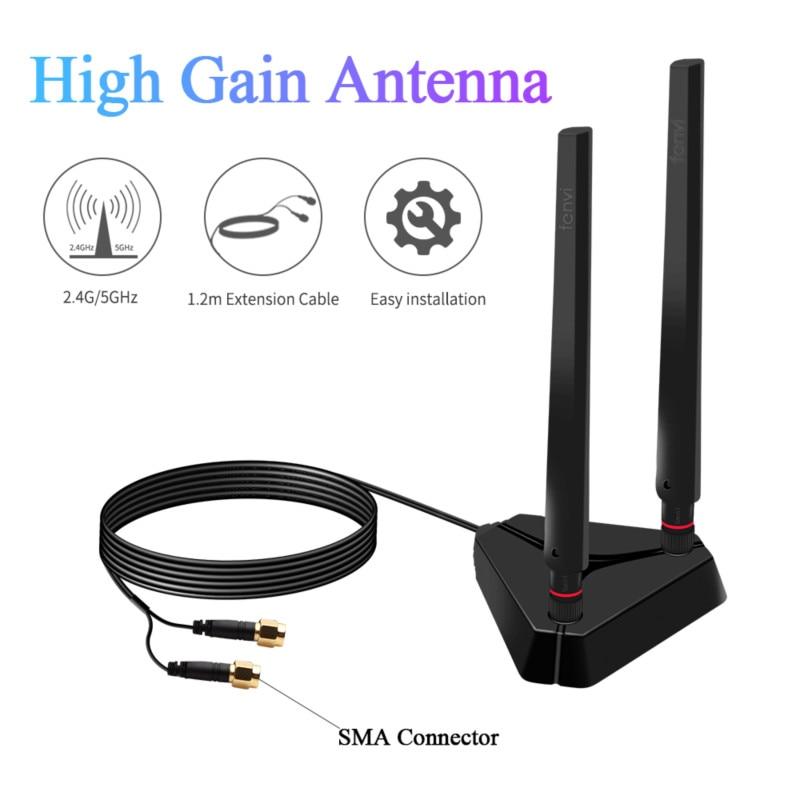Antena externa de doble banda para recepción de Señal de Cable, adaptador...