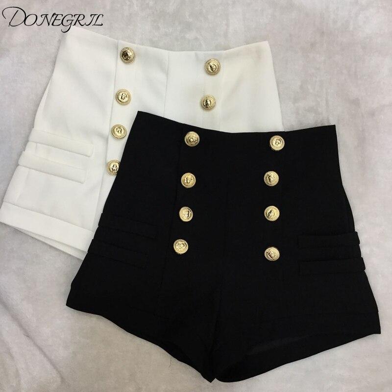 2020 New Black White Double-Breasted High Waist Shorts Women Spring Autumn Korean Causal Wide Leg Shorts недорого
