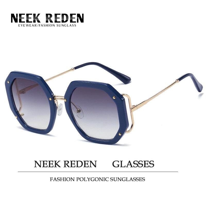 Sexy moda Grandes Quadros Óculos De Sol Mulheres Polygonic Uv400 Sunglasess Quadro Do Metal Do Vintage Senhoras Viseira Óculos Óculos Ao Ar Livre