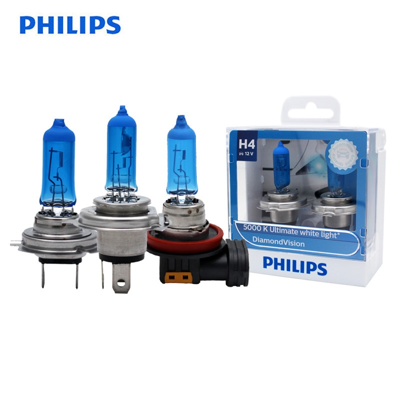 Philips diamond vision h1 h4 h7 h8 h11 hb3 hb4 9003 9005 9006 12 v 5000 k carro halogênio cabeça luz de nevoeiro lâmpadas xenon branco lâmpadas, par Lâmpadas do farol do carro (halogênio)    -