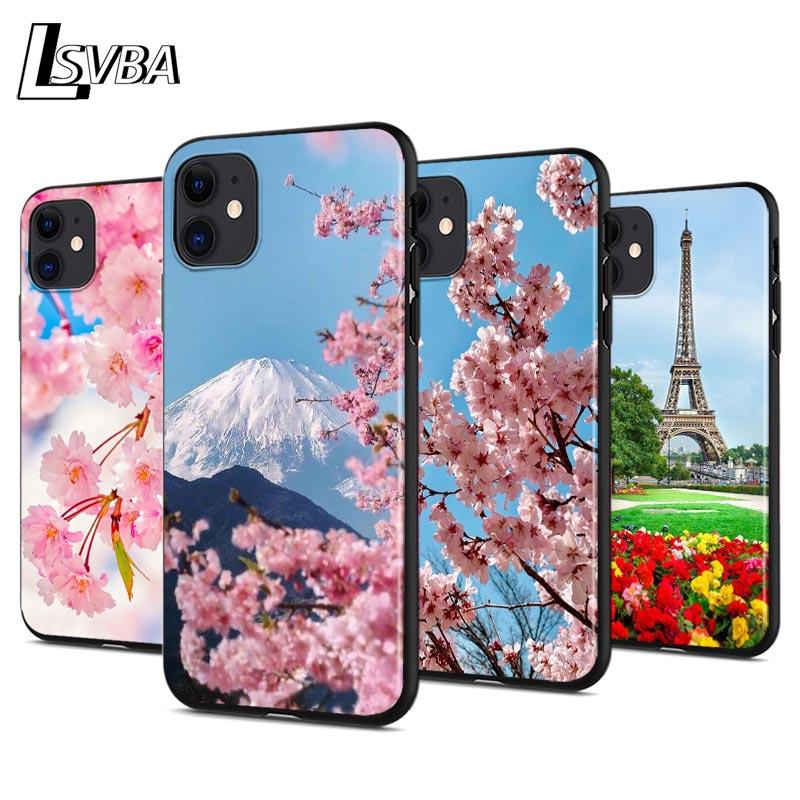 Funda de teléfono de silicona anticaída de flores de cerezo de primavera para iPhone 11 Pro XS Max X XR 6S 6 7 8 Plus 5S cubierta negra suave