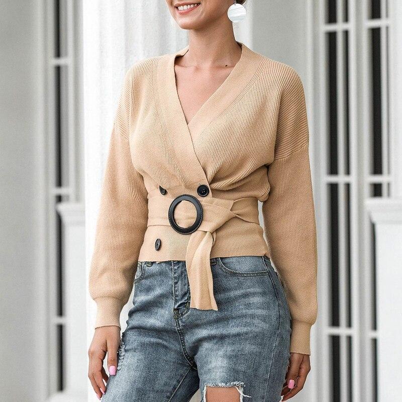 Zoki Elegant Women Cardigan Sweater Fashion Belt Autumn Knitted Double Breasted Long Sleeve Tunic Coat Sexy V Neck Black Top